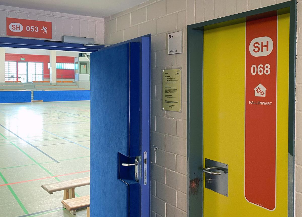Türmarker zur Sporthalle der Johannes-Gutenberg-Schule in Gernsheim